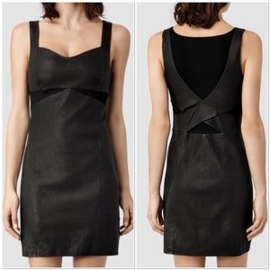 AllSaints Turi Leather Black Mini Dress
